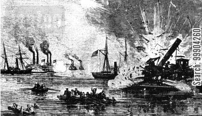 westfield cartoon humor: Confederates Attack Union Flotilla at Galveston, Texas- USS Westfield Exploding