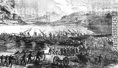 bombardment cartoon humor: The Bombardment of Fredericksburg, before Army of the Potomac's Crossing