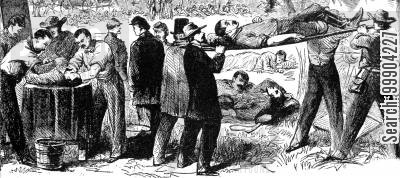 ambulance corps cartoon humor: Aftermath of Battle of Antietam. Carrying off the Wounded after the Battle