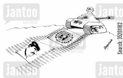 saddam hussein cartoon humor: US tank runs over picture of Saddam Hussein and UN flag.