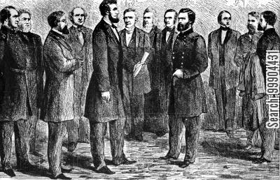 promotion cartoon humor: Ulysses S Grant Grant Receiving his Commission as Lieutenant General from Lincoln