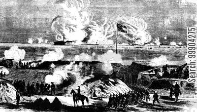 bombardment cartoon humor: Union Ironclad Fleet Bombards Fort Sumter, Charleston Harbour