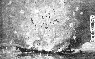 navies cartoon humor: Magazine Exploded on US Steamer 'Mississipi', Nr Port Hudson