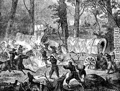 supply train cartoon humor: Tennessee Front - Rebel Cavalry Attack a US Supply Train Nr Jasper