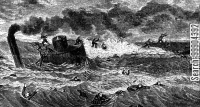 ironclad cartoon humor: Siege of Charleston - Sinking of Monitor USS Weehawken in High Seas