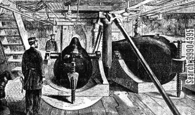 ironclad cartoon humor: Interior of the Turret of the Monitor Montauk- Rifled Shell Gun Left, Cannon Right