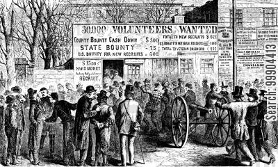 bounties cartoon humor: Recruiting for the War- Recruitment 'tents' Outside City Hall, NY
