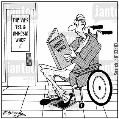 brain injuries cartoon humor: A patient in the 'The VA's TBI & Amnesia Ward' reads the book 'Who's Who.'