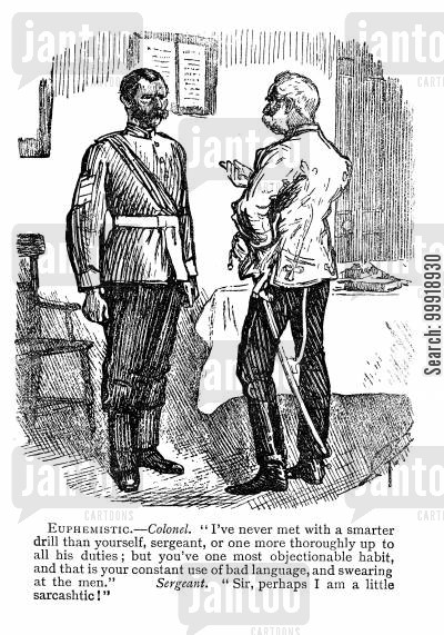victorian officers cartoon humor: Euphemistic.