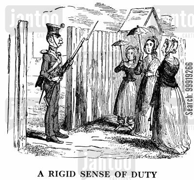 courtships cartoon humor: A Rigid Sense of Duty.