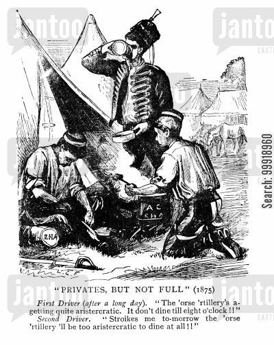 victorian cavalry cartoon humor: Privates, but not Full.