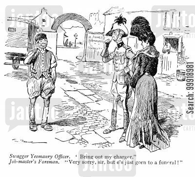 victorian officers cartoon humor: Swagger Yeomanry Officer