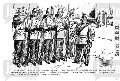 victorian officers cartoon humor: A Verbal Difficulty