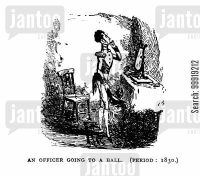 victorian officers cartoon humor: An Officer going to a Ball.