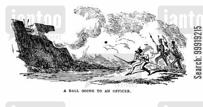 victorian soldier cartoon humor: A Ball going to an Officer.