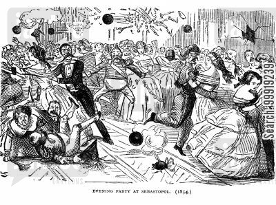 victorian soldier cartoon humor: Eveniing Party at Sebastopol. 1854