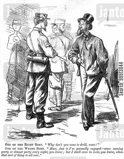 rifleman cartoon humor: Man making excuses for not joining the volunteer force
