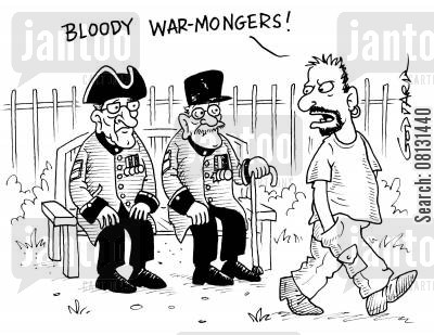 chelsea pensioner cartoon humor: 'Bloody warmongers!'