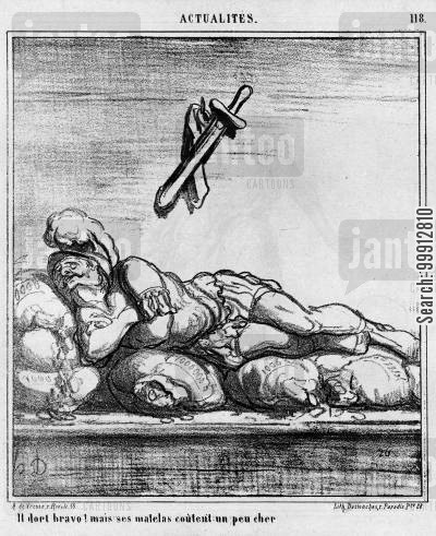 prussia cartoon humor: Actualities - 'He's sleeping! Bravo! But his mattress is a bit expensive.'