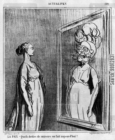 war cartoon humor: News of the Day - Peace: 'what strange mirrors they make these days'