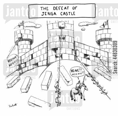 board game cartoon humor: 'The Defeat of Jenga Castle'.