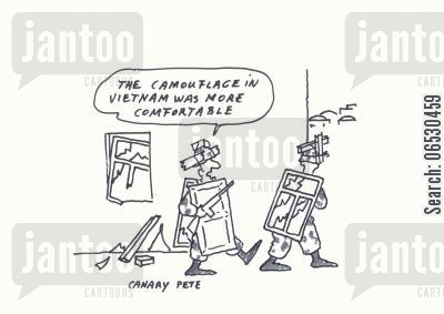 iraq cartoon humor: The camouflage in vietnam was more comfortable