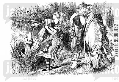 children's literature cartoon humor: Through the Looking Glass - The Knight Falls into the Ditch.