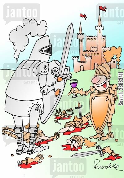 duelers cartoon humor: Knight offers his opponent a glass of wine.