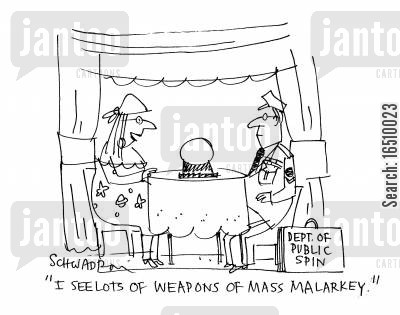the future cartoon humor: 'I see lots of weapons of mass malarky.'