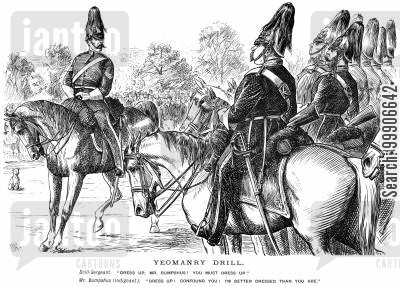 hussar cartoon humor: A yeoman misunderstanding an order from his drill-sergeant