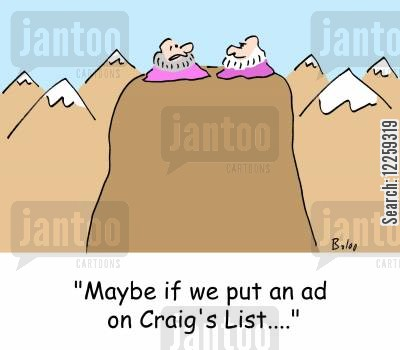 craigs list cartoon humor: 'Maybe if we put an ad on Craig's List....'