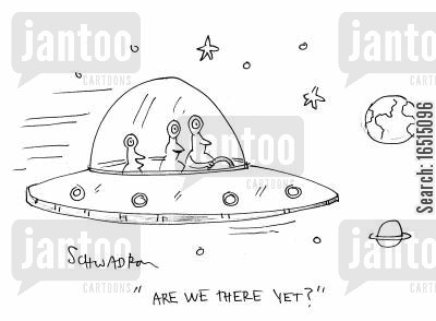 alien spacecraft cartoon humor: 'Are we there yet?'