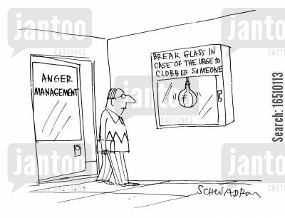 thumps cartoon humor: Anger Management - Break Glass in Case of hte Urge to Clobber Someone.