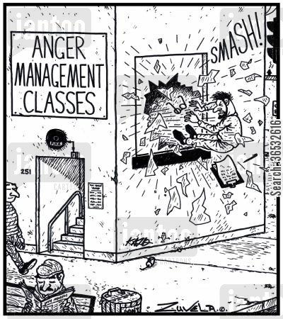 courses cartoon humor: Anger Management Classes.