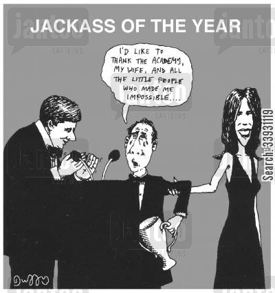 jerk cartoon humor: Jackass of the year.