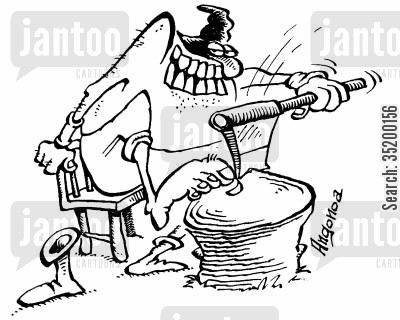 toes cartoon humor: Executioner using his axe to cut his toe nails