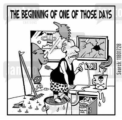 breakages cartoon humor: The beginning of one of those days.