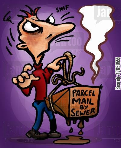 snail mail cartoon humor: Parcel mail by sewer.