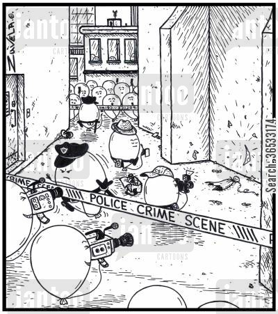 burst balloons cartoon humor: Police Crime Scene.
