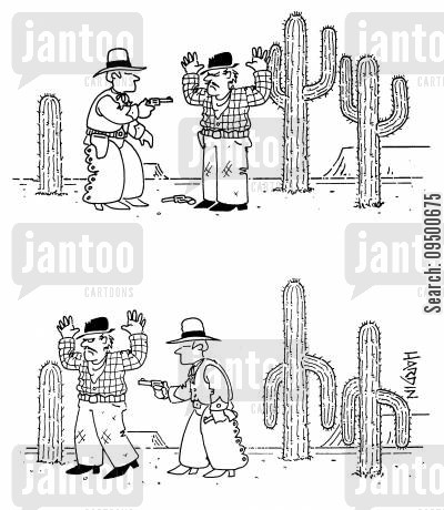 follow orders cartoon humor: Cacti that hold up their 'arms' when a gun is pointed at them.