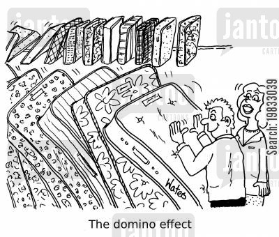 mattress cartoon humor: The domino effect.