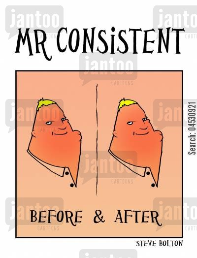 reliability cartoon humor: Mr Consistent: Before & After.