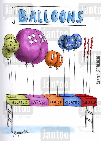 elated cartoon humor: Balloons!