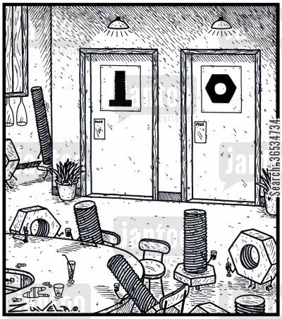 ladies cartoon humor: Male and Female Toilets for Bolts and Nuts
