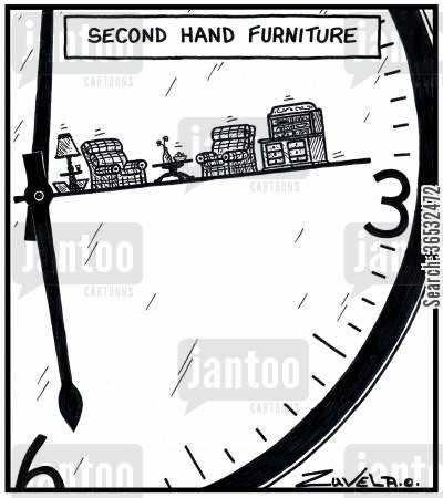 lounge cartoon humor: Second hand furniture.