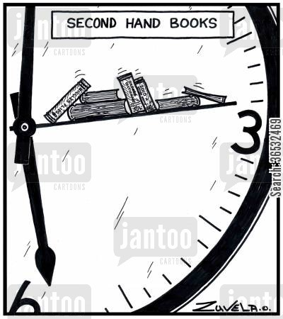 second hands cartoon humor: Second hand books.