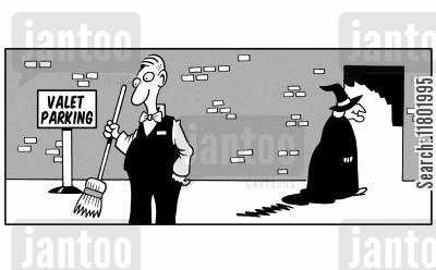 broomticks cartoon humor: Valet is left with witches broomstick.