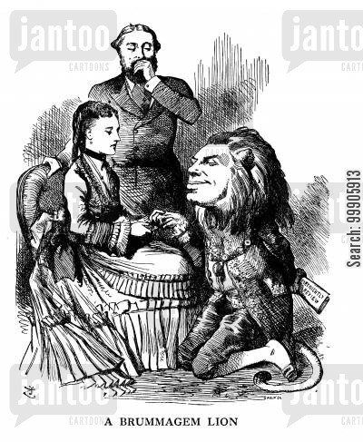 conservative revival cartoon humor: A Brummagen Lion - The Prince and Princess of Wales visit Birmingham