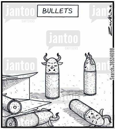 bullet cartoon humor: Bullets Bulls in the form of Bullets