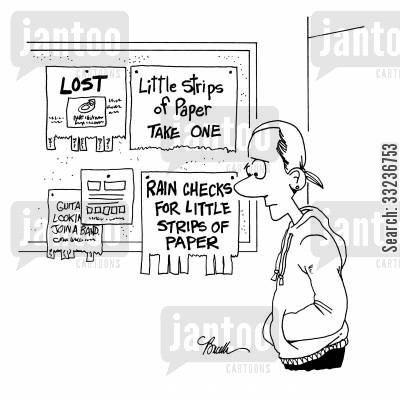 information board cartoon humor: Strips of paper